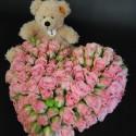 Chrysanthemenherz mit Lederarmband